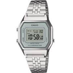 52034ede6939 Reloj Casio digital de señora con pulsera y caja en color plateado y esfera  en color gris