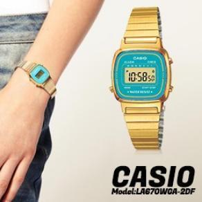 Digital Caja En Reloj Color Vintage Azul Con Y Pulsera Casio Celeste De Esfera DoradoFondo Al Señora Estilo Muy KlFJT13c