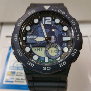 70199616f530 Reloj Casio caballero analógico digital sumergible 100 metros correa caucho  negra